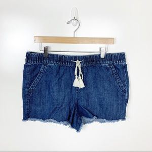 LOFT | Denim Fray Hem Elastic Band Shorts Size 10